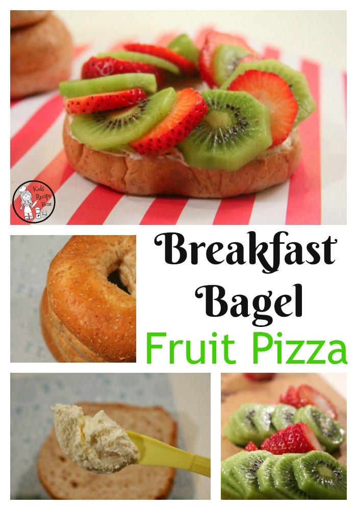 Breakfast Bagel Fruit Pizzas - Great breakfast for kids.