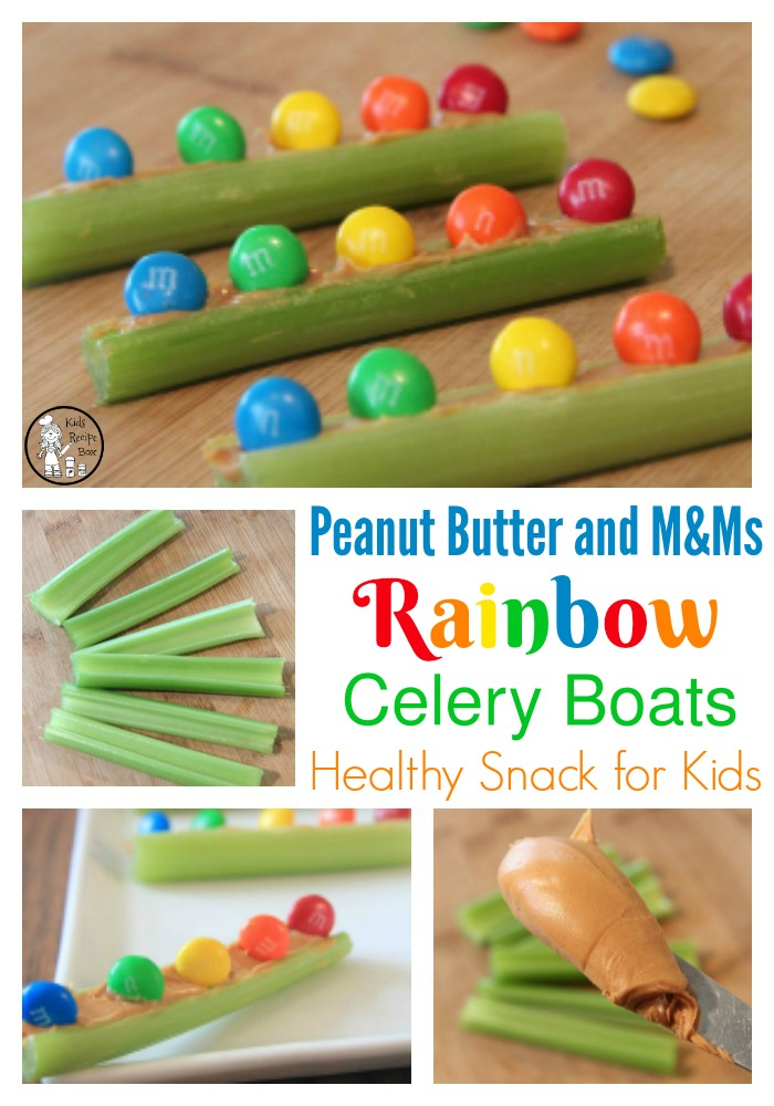 Celery Boats Rainbow Snack for Kids.