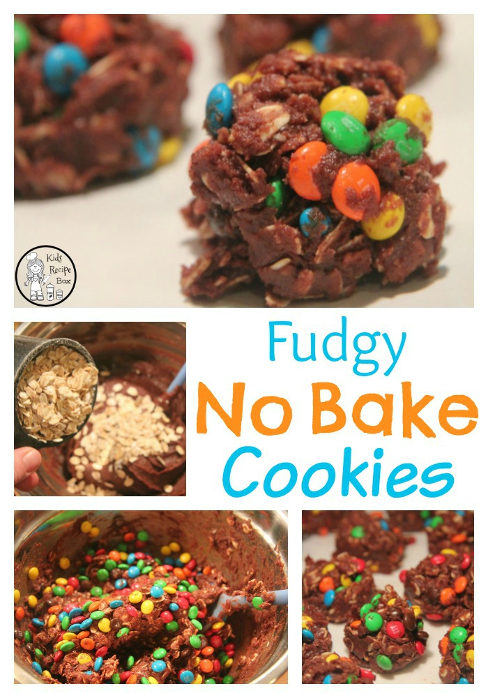 Delicious Fudgy No Bake Cookies with M&Ms and a secret ingredient.