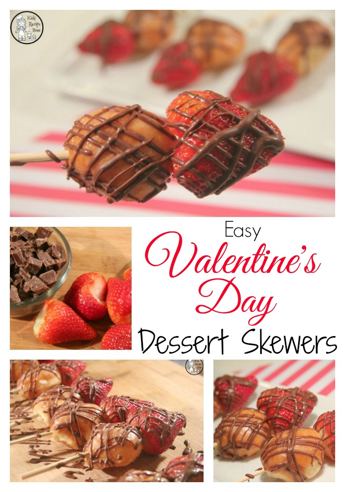 Easy Valentine's Day Dessert Skewers - fun recipe for kids or adults.