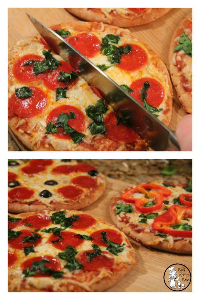 Fast Personal Pizza's made with a pita bread crust.
