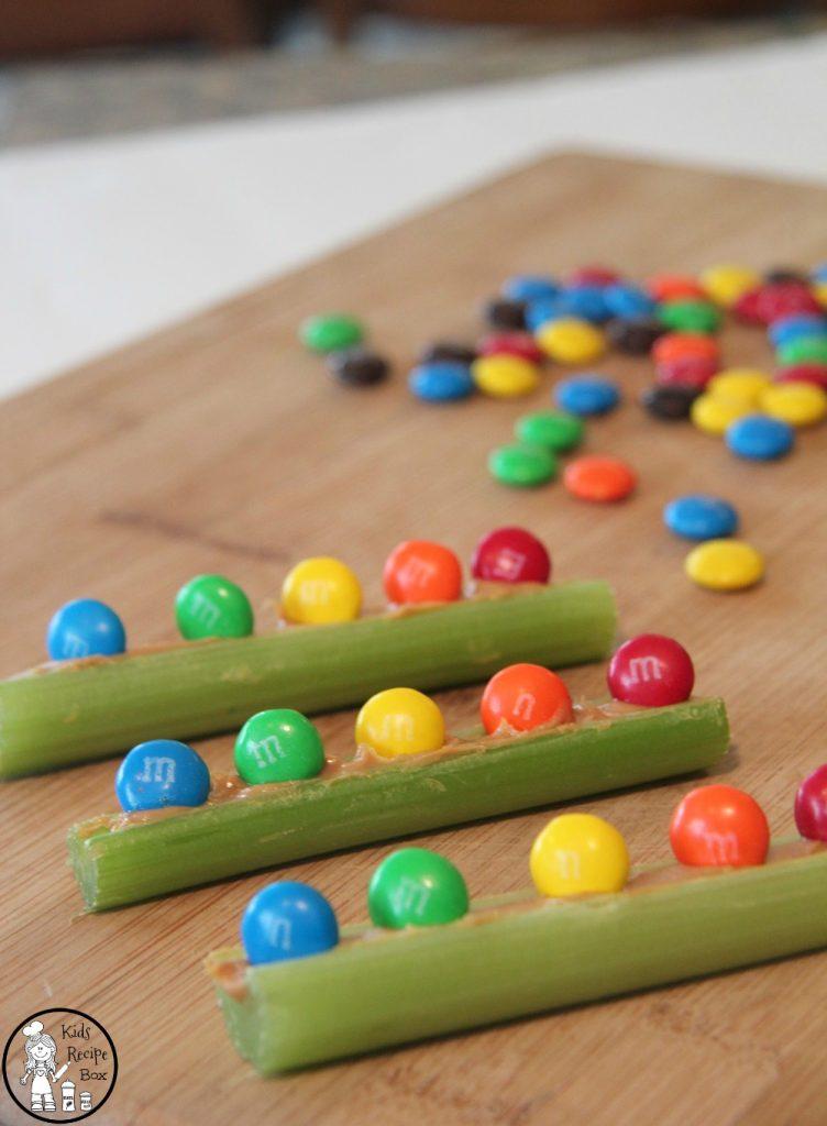 Fun Rainbow Snack for kids - Peanut Butter M&M Celery Boats.