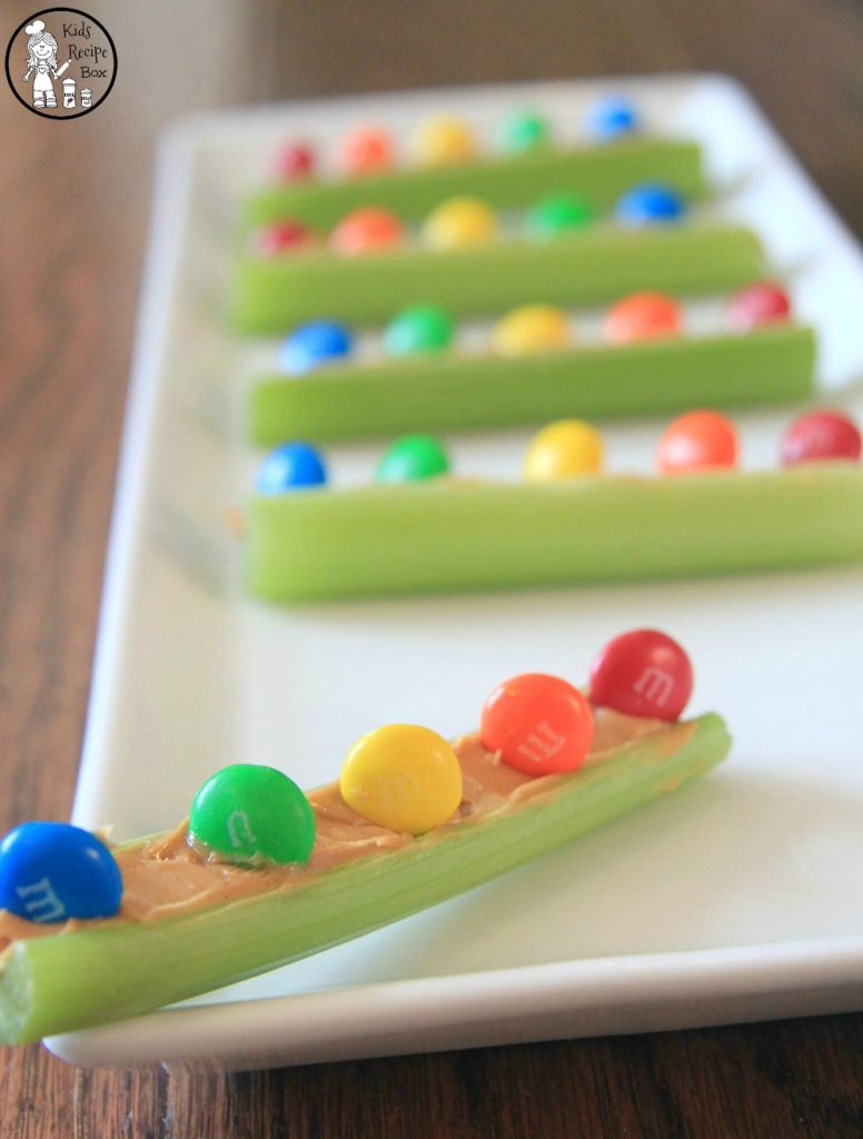 Healthy Rainbow Snack for kids - Peanut Butter M&M Celery Boats.