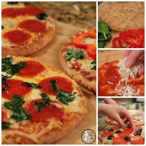 Pita Bread Crust Personal Pizzas - Fast, healthy weeknight dinner.
