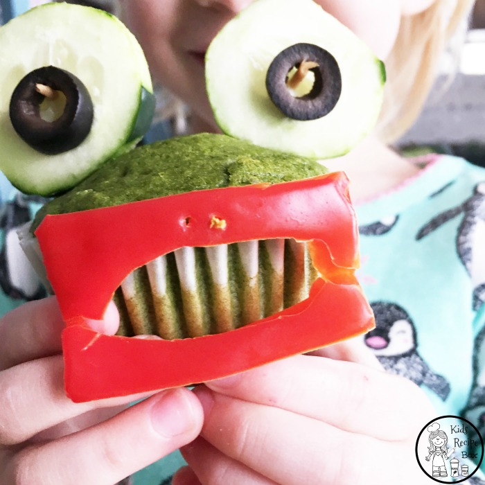 Wide Mouth Frog Spinach Muffins for kids - Yummy and fun to make.