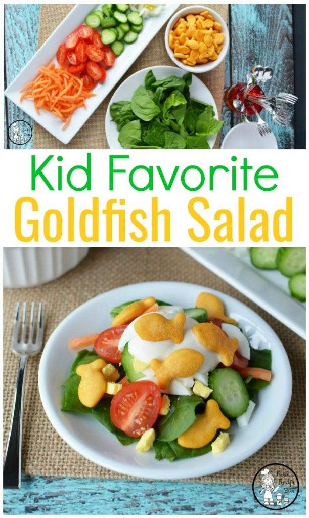 Kid Friendly Salad recipe with goldfish croutons