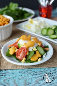 Awesome Kid Friendly Salad recipe, using goldfish as croutons.