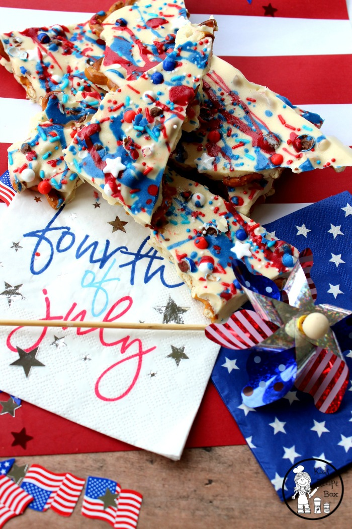 4th of July Chocolate Bark with Sprinkles and Pretzels.