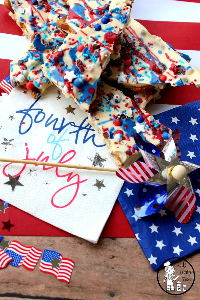 Delicious 4th of July Almond Pretzel Bark