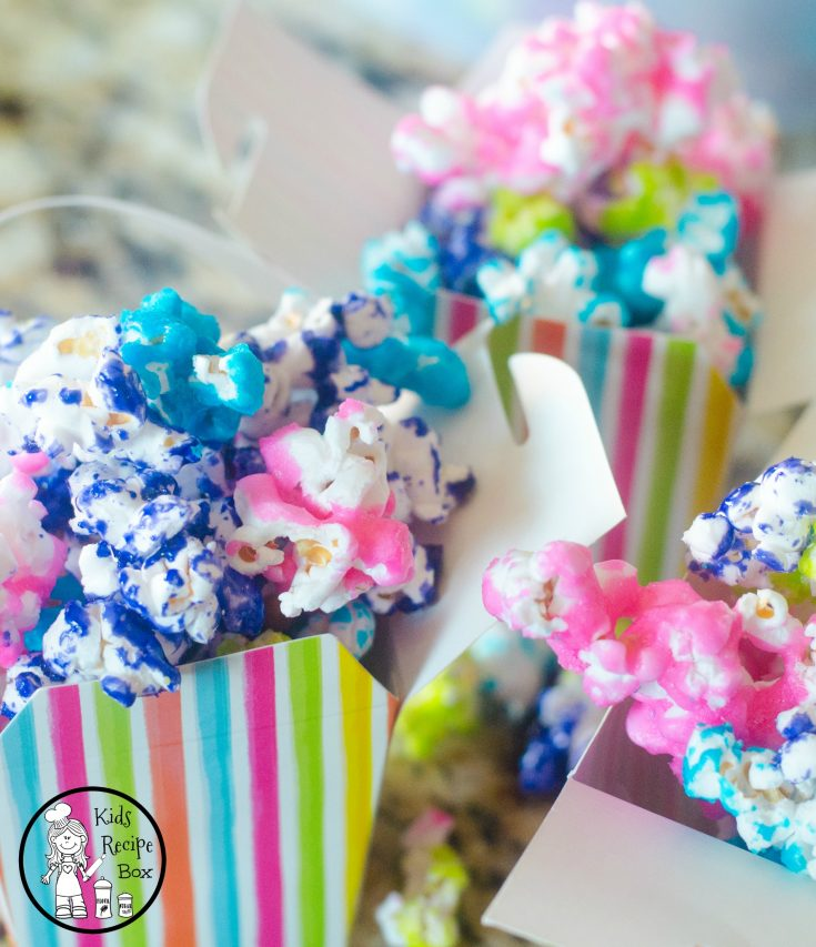 Unicorn Candy Coated Popcorn in fun rainbow colors