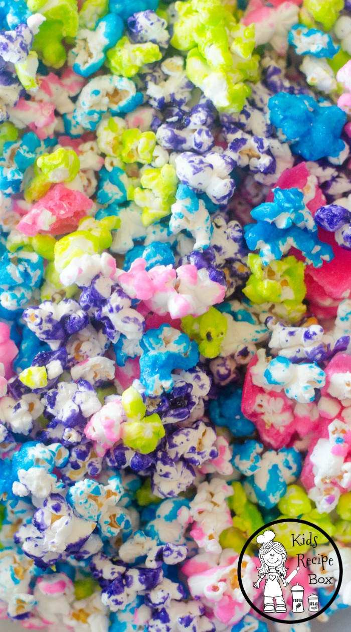 Rainbow Candy Coated Popcorn. So delicious and pretty.