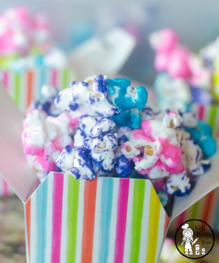 Candy Coated Popcorn for a Unicorn Party or theme. So fun!