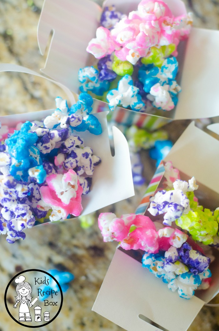 Rainbow Candy Coated Popcorn for Unicorn theme parties.